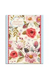 12 Notecards and Envelopes,Vintage Blooms