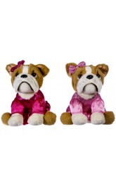 Plush Bulldog in pink dress